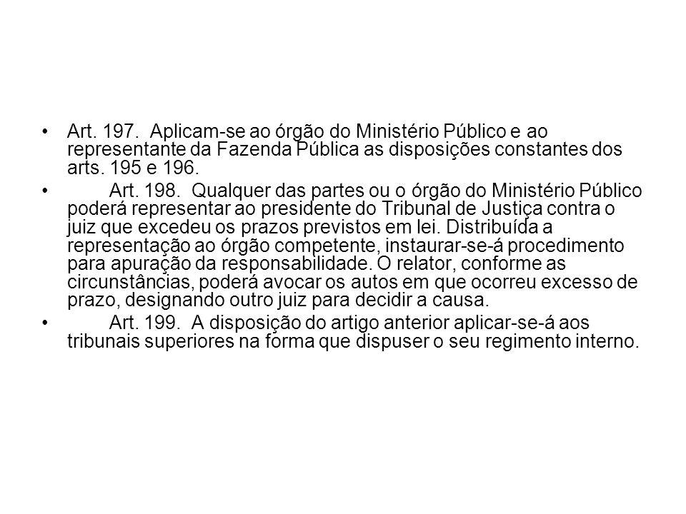 Art. 197. Aplicam-se ao órgão do Ministério Público e ao representante da Fazenda Pública as disposições constantes dos arts. 195 e 196. Art. 198. Qua