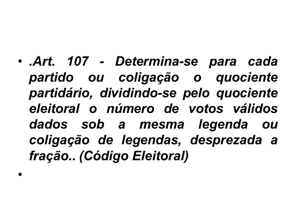 .Art. 107 - Determina-se para cada partido ou coligação o quociente partidário, dividindo-se pelo quociente eleitoral o número de votos válidos dados
