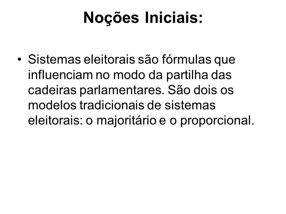 Noções Iniciais: Sistemas eleitorais são fórmulas que influenciam no modo da partilha das cadeiras parlamentares. São dois os modelos tradicionais de