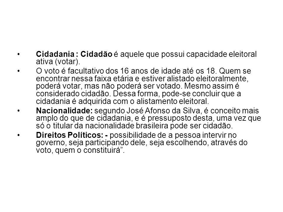 Cidadania : Cidadão é aquele que possui capacidade eleitoral ativa (votar). O voto é facultativo dos 16 anos de idade até os 18. Quem se encontrar nes