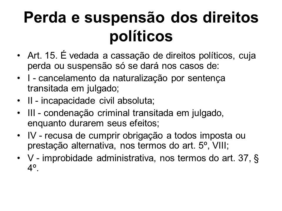 Perda e suspensão dos direitos políticos Art. 15. É vedada a cassação de direitos políticos, cuja perda ou suspensão só se dará nos casos de: I - canc