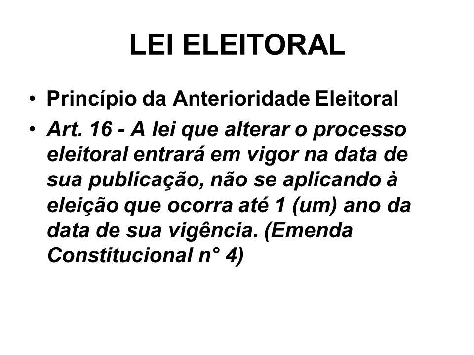 LEI ELEITORAL Princípio da Anterioridade Eleitoral Art. 16 - A lei que alterar o processo eleitoral entrará em vigor na data de sua publicação, não se