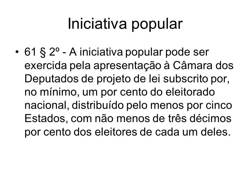 Iniciativa popular 61 § 2º - A iniciativa popular pode ser exercida pela apresentação à Câmara dos Deputados de projeto de lei subscrito por, no mínim