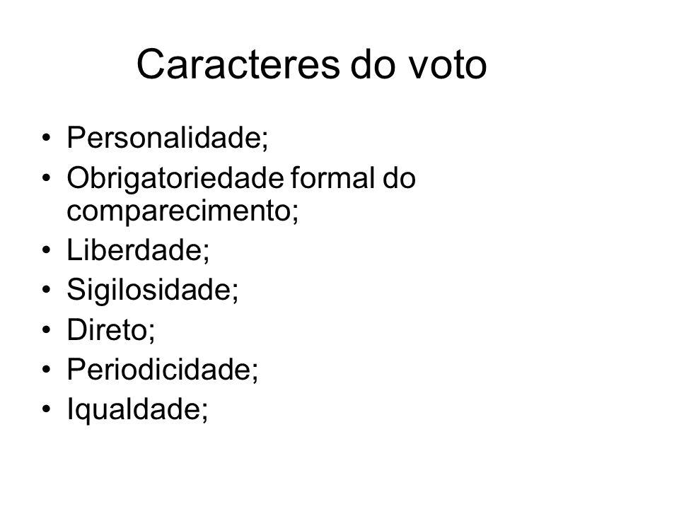 Caracteres do voto Personalidade; Obrigatoriedade formal do comparecimento; Liberdade; Sigilosidade; Direto; Periodicidade; Iqualdade;