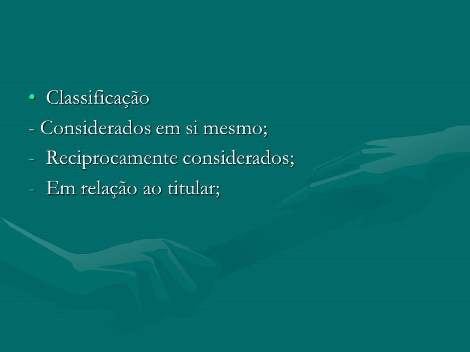 ClassificaçãoClassificação - Considerados em si mesmo; -Reciprocamente considerados; -Em relação ao titular;