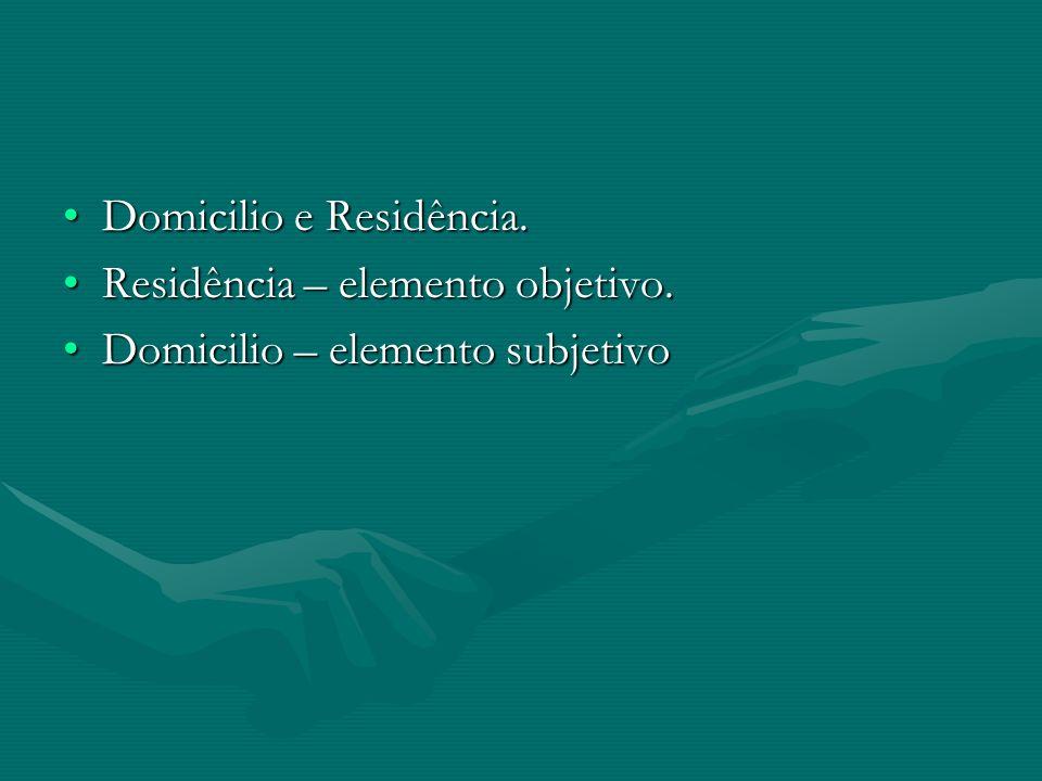 Domicilio e Residência.Domicilio e Residência. Residência – elemento objetivo.Residência – elemento objetivo. Domicilio – elemento subjetivoDomicilio