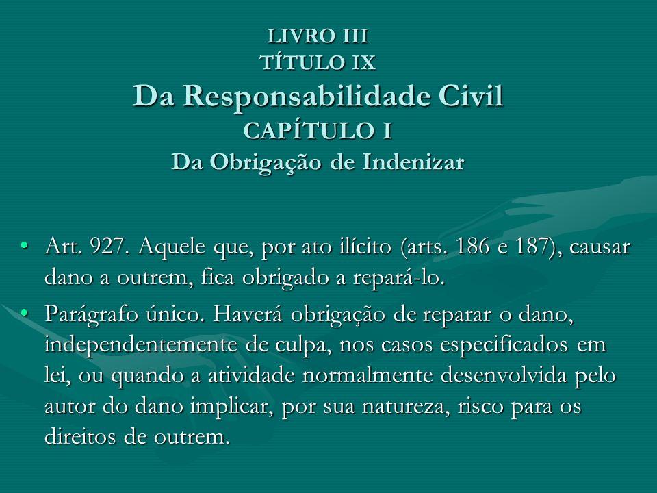 LIVRO III TÍTULO IX Da Responsabilidade Civil CAPÍTULO I Da Obrigação de Indenizar Art. 927. Aquele que, por ato ilícito (arts. 186 e 187), causar dan
