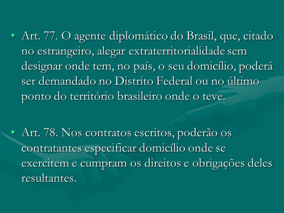 Art. 77. O agente diplomático do Brasil, que, citado no estrangeiro, alegar extraterritorialidade sem designar onde tem, no país, o seu domicílio, pod
