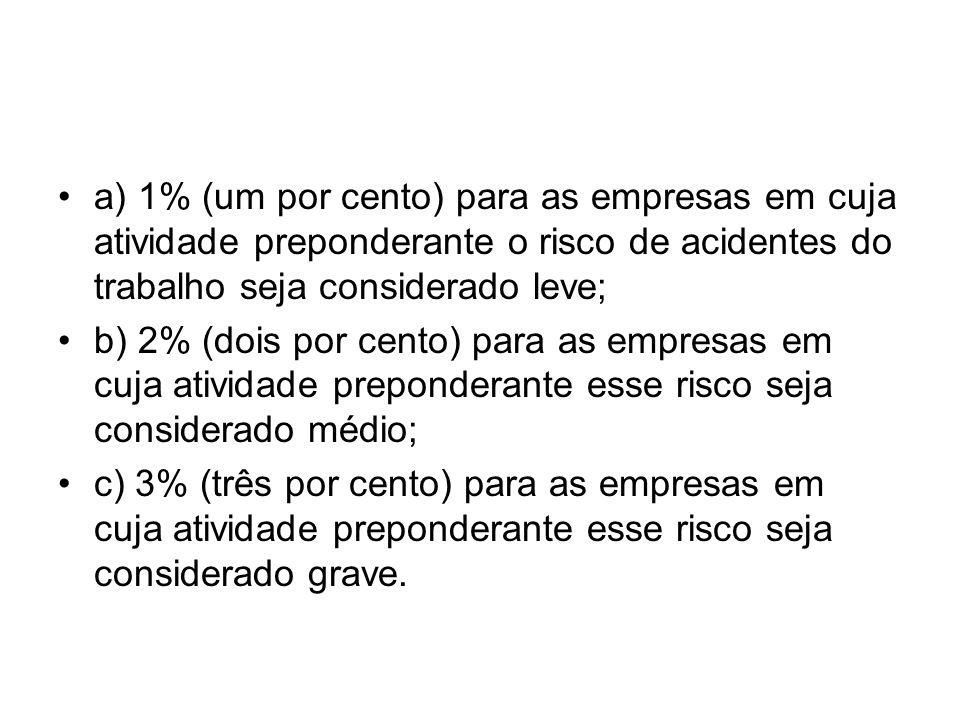 a) 1% (um por cento) para as empresas em cuja atividade preponderante o risco de acidentes do trabalho seja considerado leve; b) 2% (dois por cento) p