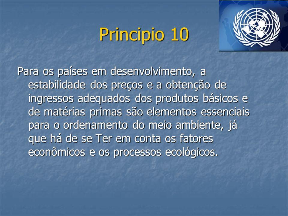 Principio 10 Para os países em desenvolvimento, a estabilidade dos preços e a obtenção de ingressos adequados dos produtos básicos e de matérias prima