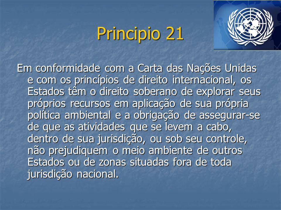 Principio 21 Em conformidade com a Carta das Nações Unidas e com os princípios de direito internacional, os Estados têm o direito soberano de explorar