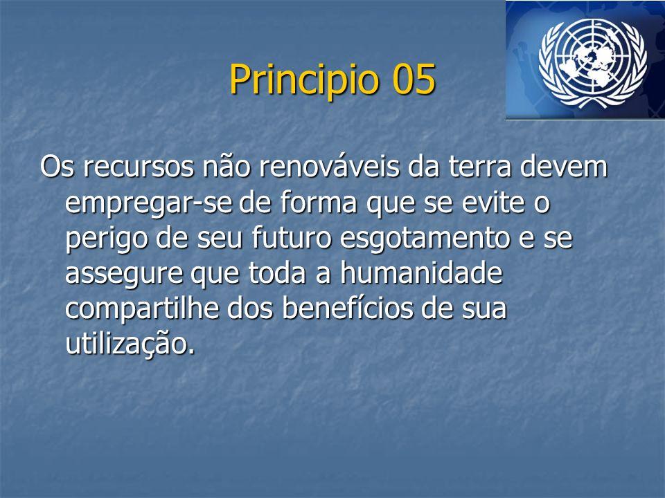 Principio 05 Os recursos não renováveis da terra devem empregar-se de forma que se evite o perigo de seu futuro esgotamento e se assegure que toda a h