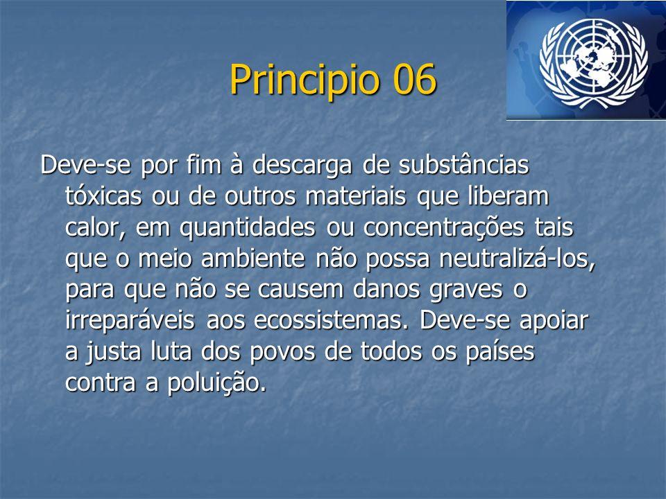 Principio 06 Deve-se por fim à descarga de substâncias tóxicas ou de outros materiais que liberam calor, em quantidades ou concentrações tais que o me