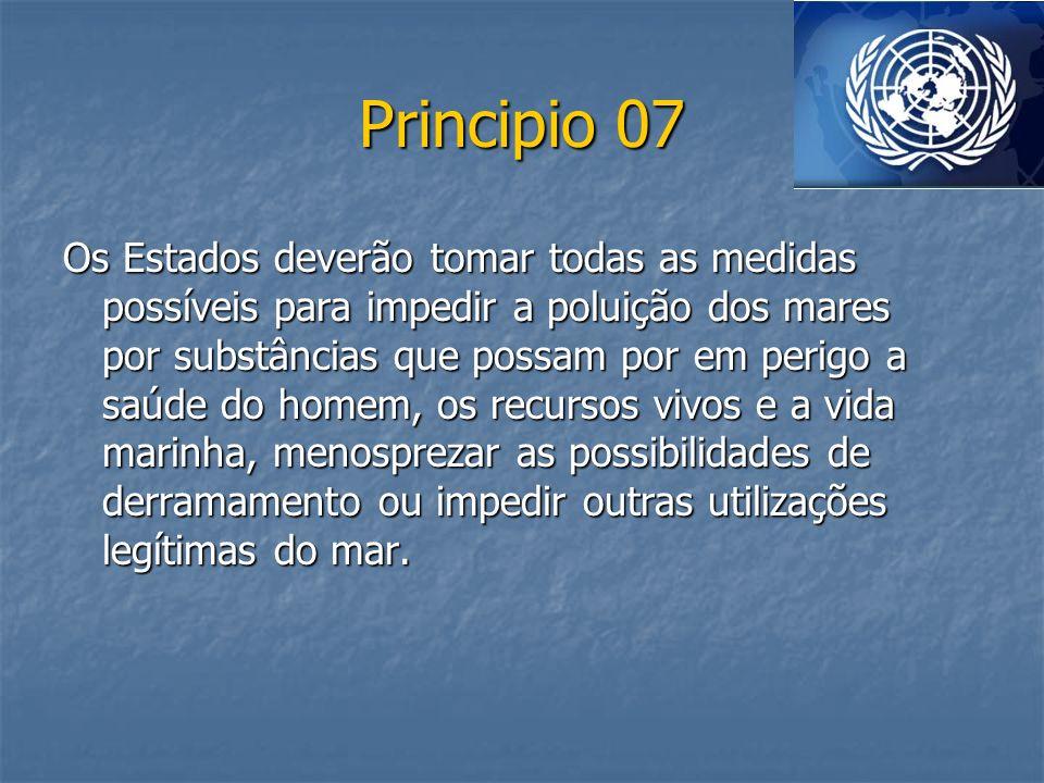 Principio 07 Os Estados deverão tomar todas as medidas possíveis para impedir a poluição dos mares por substâncias que possam por em perigo a saúde do
