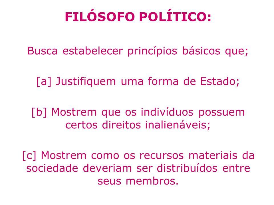FILÓSOFO POLÍTICO: Busca estabelecer princípios básicos que; [a] Justifiquem uma forma de Estado; [b] Mostrem que os indivíduos possuem certos direito