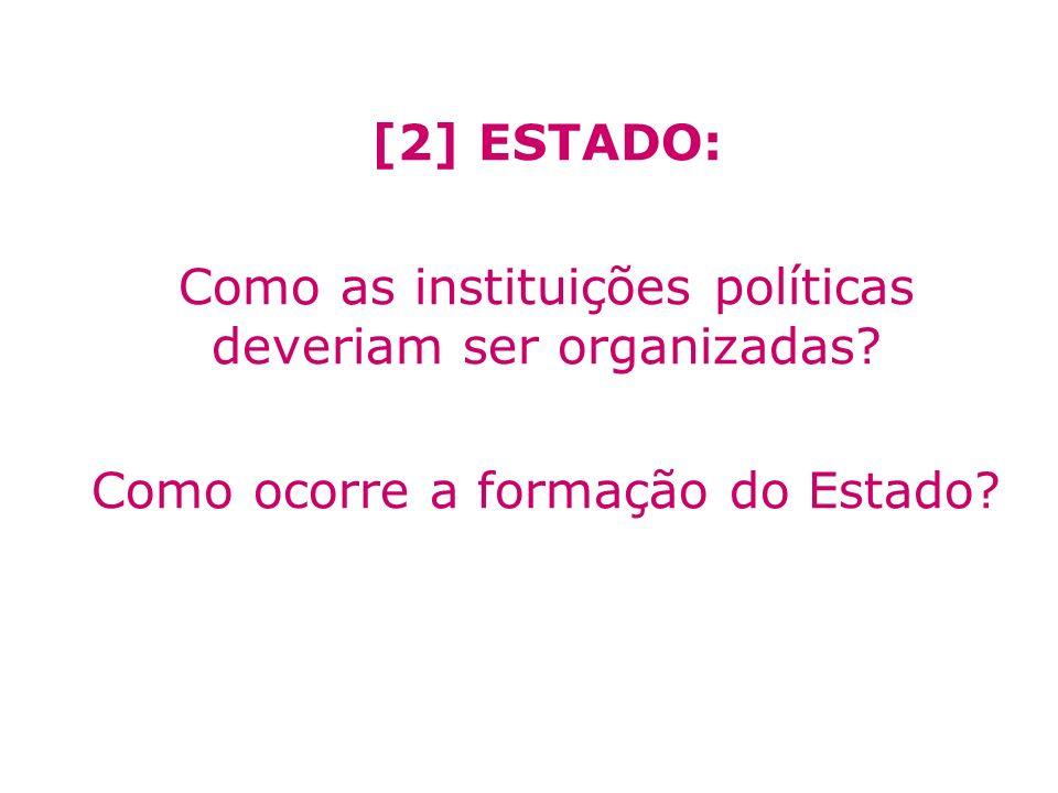 [2] ESTADO: Como as instituições políticas deveriam ser organizadas? Como ocorre a formação do Estado?