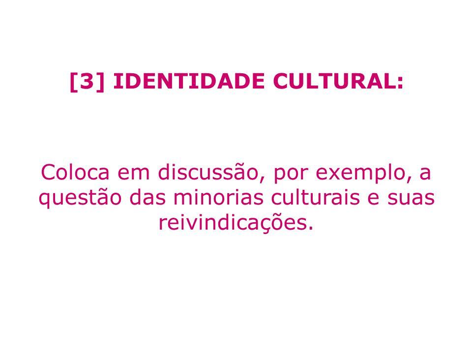 [3] IDENTIDADE CULTURAL: Coloca em discussão, por exemplo, a questão das minorias culturais e suas reivindicações.