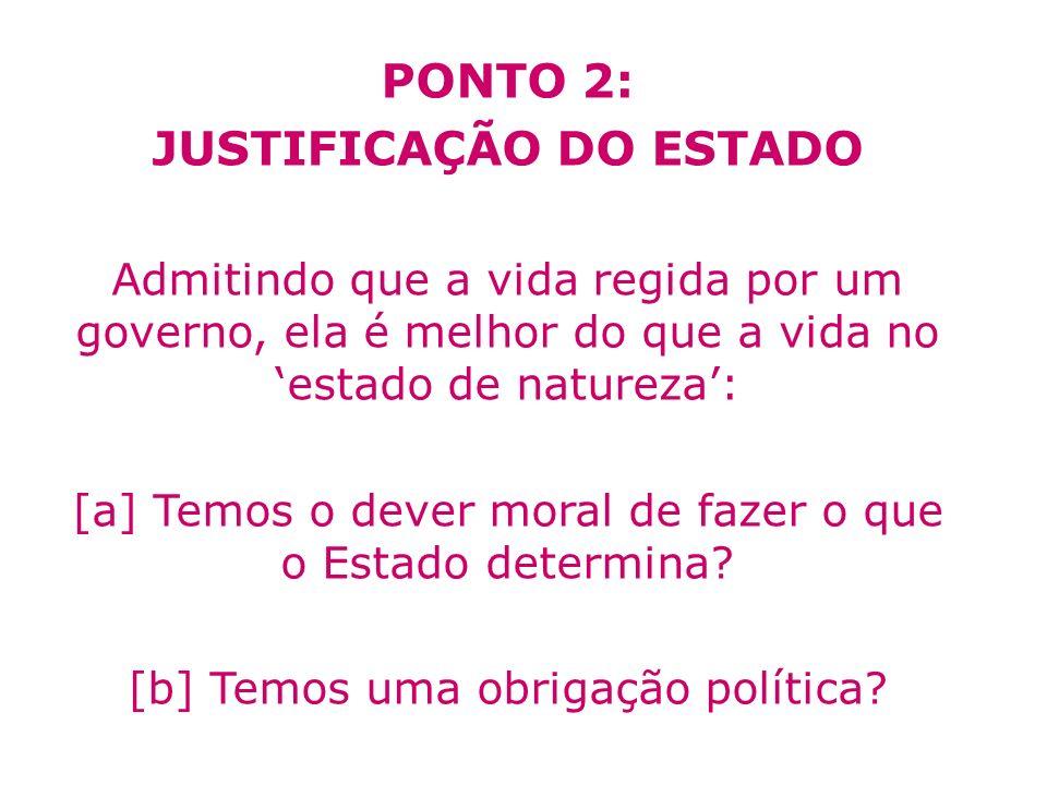 PONTO 2: JUSTIFICAÇÃO DO ESTADO Admitindo que a vida regida por um governo, ela é melhor do que a vida no estado de natureza: [a] Temos o dever moral
