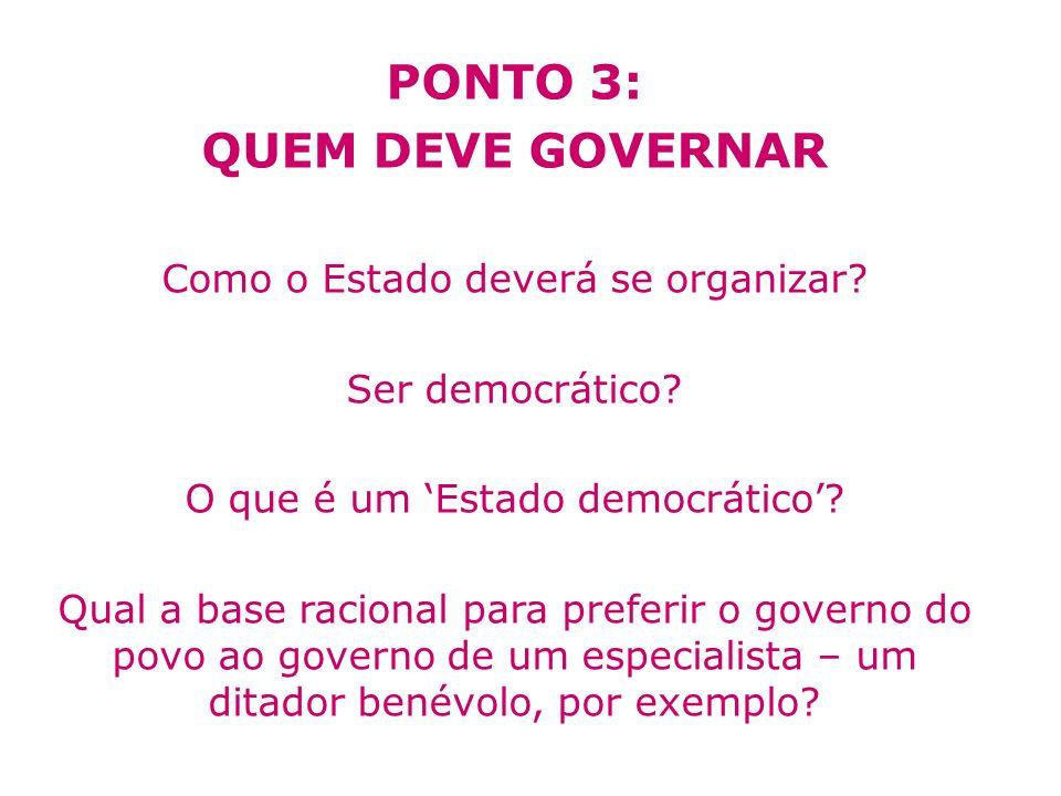 PONTO 3: QUEM DEVE GOVERNAR Como o Estado deverá se organizar? Ser democrático? O que é um Estado democrático? Qual a base racional para preferir o go