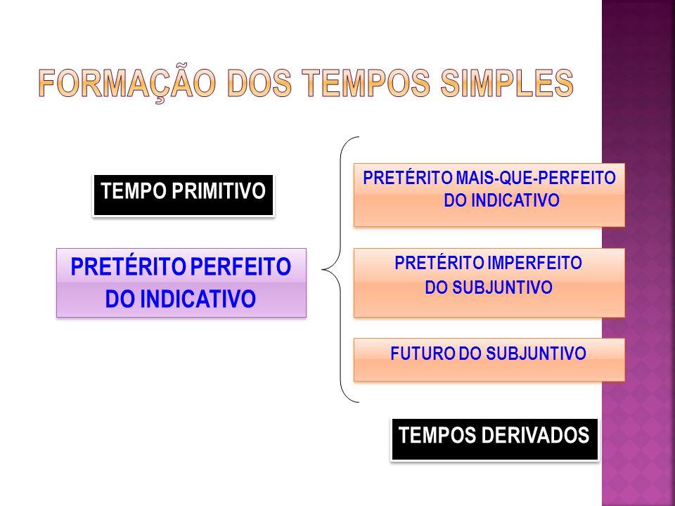 PRETÉRITO PERFEITO DO INDICATIVO PRETÉRITO PERFEITO DO INDICATIVO PRETÉRITO MAIS-QUE-PERFEITO DO INDICATIVO PRETÉRITO IMPERFEITO DO SUBJUNTIVO PRETÉRITO IMPERFEITO DO SUBJUNTIVO FUTURO DO SUBJUNTIVO TEMPO PRIMITIVO TEMPOS DERIVADOS