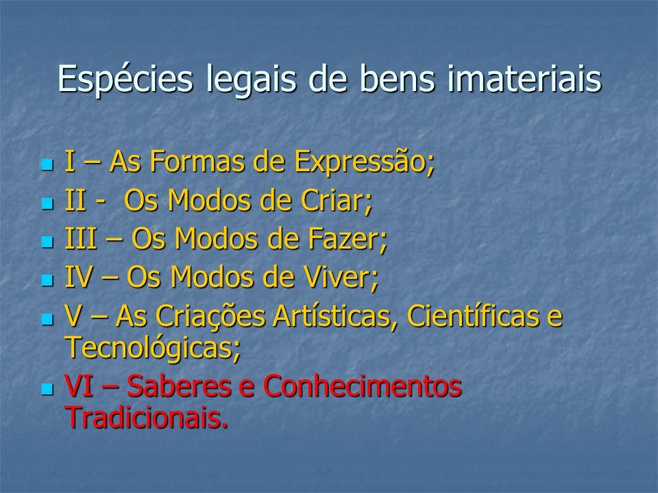 Espécies legais de bens imateriais I – As Formas de Expressão; I – As Formas de Expressão; II - Os Modos de Criar; II - Os Modos de Criar; III – Os Mo