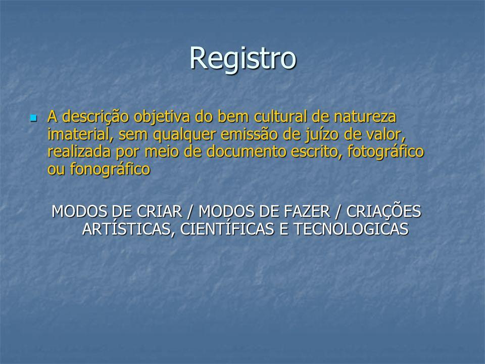 Registro A descrição objetiva do bem cultural de natureza imaterial, sem qualquer emissão de juízo de valor, realizada por meio de documento escrito,