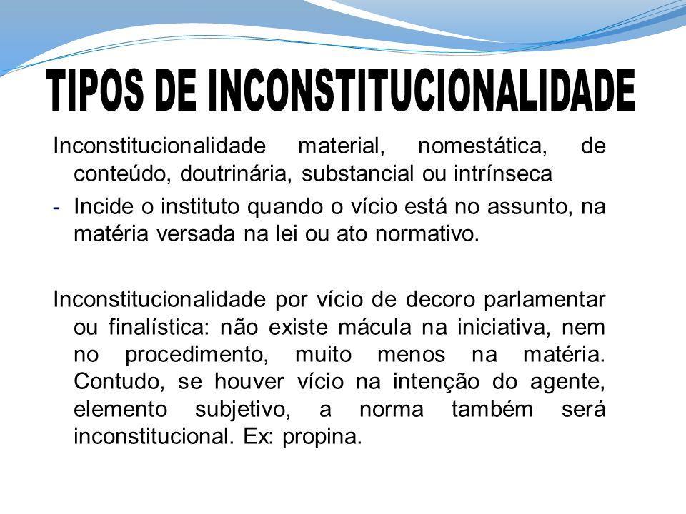 Inconstitucionalidade material, nomestática, de conteúdo, doutrinária, substancial ou intrínseca - Incide o instituto quando o vício está no assunto,