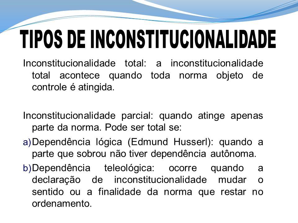 Inconstitucionalidade total: a inconstitucionalidade total acontece quando toda norma objeto de controle é atingida. Inconstitucionalidade parcial: qu