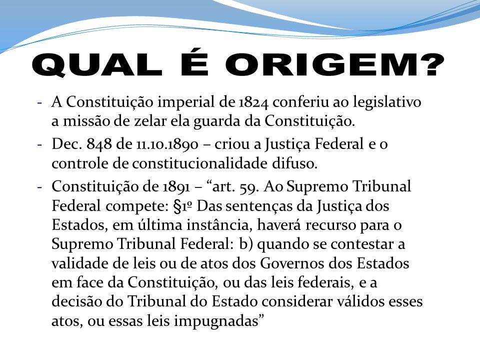 - A Constituição imperial de 1824 conferiu ao legislativo a missão de zelar ela guarda da Constituição. - Dec. 848 de 11.10.1890 – criou a Justiça Fed