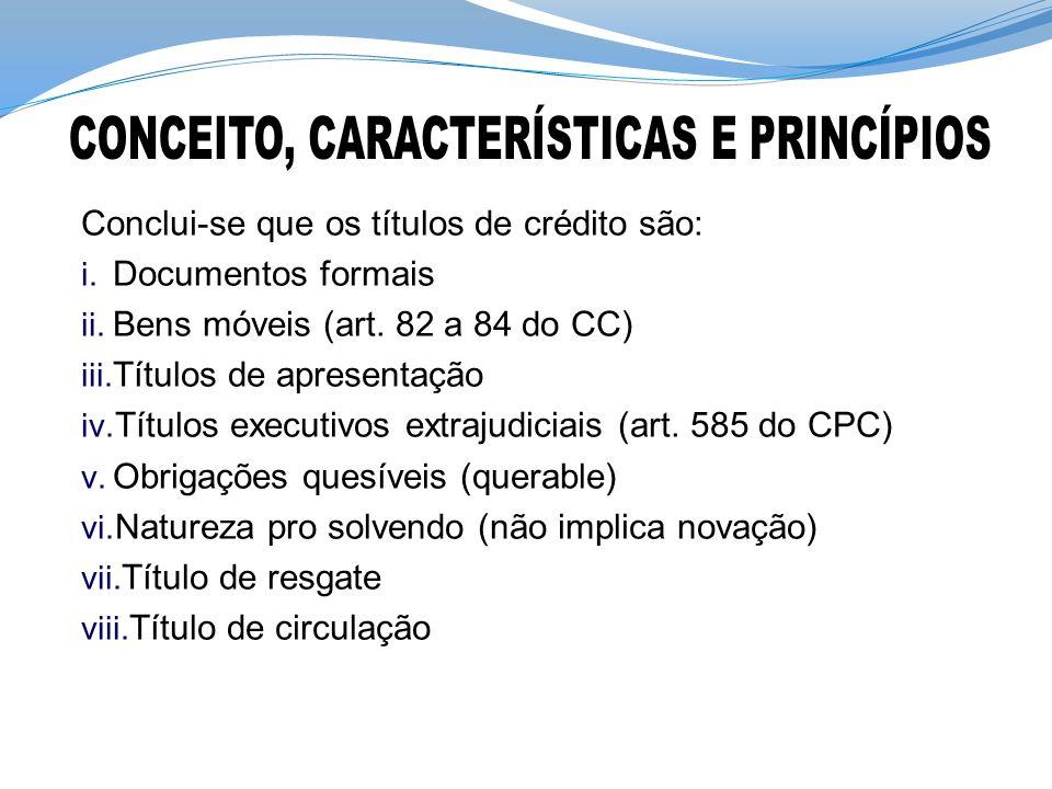 Conclui-se que os títulos de crédito são: i.Documentos formais ii.