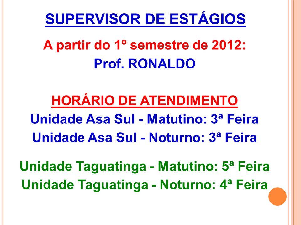 SUPERVISOR DE ESTÁGIOS A partir do 1º semestre de 2012: Prof.