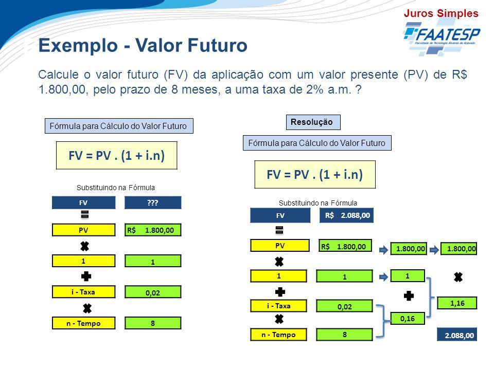Exercícios Exemplo - Valor Futuro Calcule o valor futuro (FV) da aplicação com um valor presente (PV) de R$ 1.800,00, pelo prazo de 8 meses, a uma tax