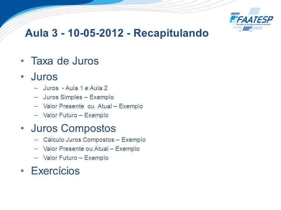 Aula 3 - 10-05-2012 - Recapitulando Taxa de Juros Juros –Juros - Aula 1 e Aula 2 –Juros Simples – Exemplo –Valor Presente ou Atual – Exemplo –Valor Fu