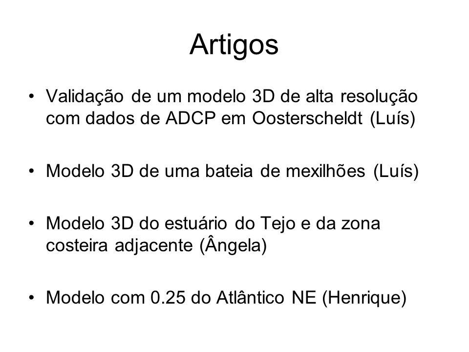 Artigos Validação de um modelo 3D de alta resolução com dados de ADCP em Oosterscheldt (Luís) Modelo 3D de uma bateia de mexilhões (Luís) Modelo 3D do estuário do Tejo e da zona costeira adjacente (Ângela) Modelo com 0.25 do Atlântico NE (Henrique)
