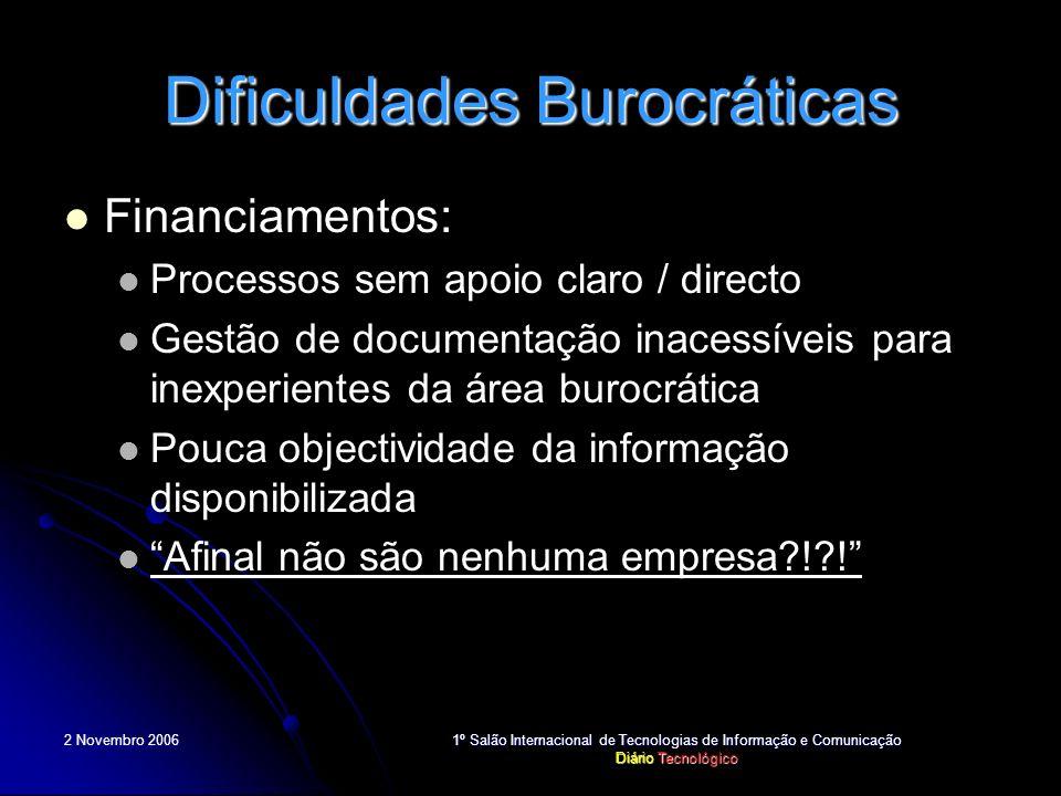 2 Novembro 2006 1º Salão Internacional de Tecnologias de Informação e Comunicação Diário Tecnológico Dificuldades Burocráticas Financiamentos: Process