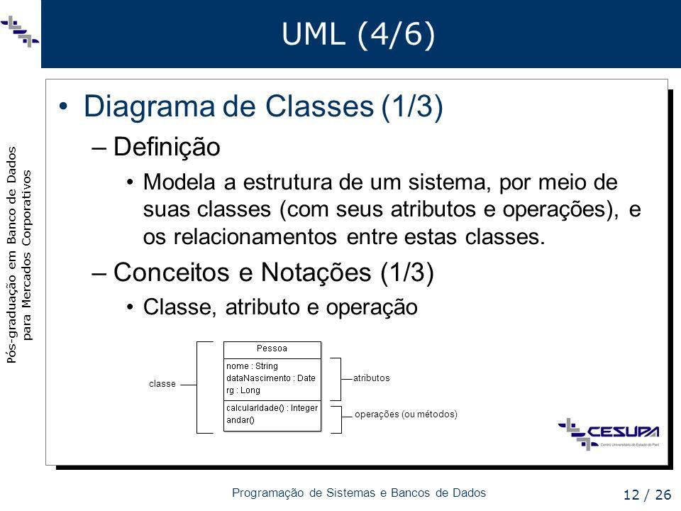 Pós-graduação em Banco de Dados para Mercados Corporativos Programação de Sistemas e Bancos de Dados 12 / 26 UML (4/6) Diagrama de Classes (1/3) –Defi