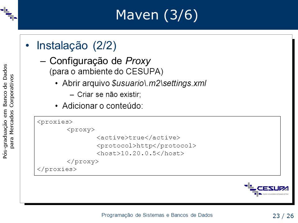 Pós-graduação em Banco de Dados para Mercados Corporativos Programação de Sistemas e Bancos de Dados 23 / 26 Maven (3/6) Instalação (2/2) –Configuraçã