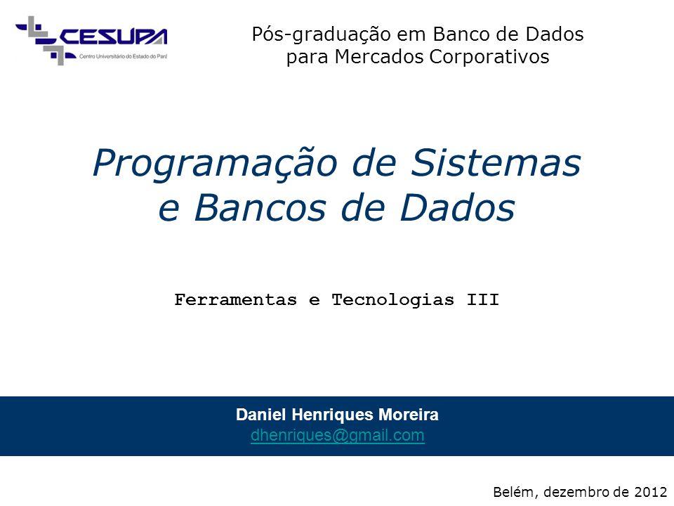 Pós-graduação em Banco de Dados para Mercados Corporativos Programação de Sistemas e Bancos de Dados 2 / 17 JBoss (1/7) Sítio –http://www.jboss.org/jbossas.htmlhttp://www.jboss.org/jbossas.html Definição (1/2) –Servidor de aplicações, de código aberto Contêiner de aplicações; Provê serviços aos softwares contidos –Segurança; –Transferência e tratamento de dados; –Suporte transacional; –Balanceamento de carga; –Etc.