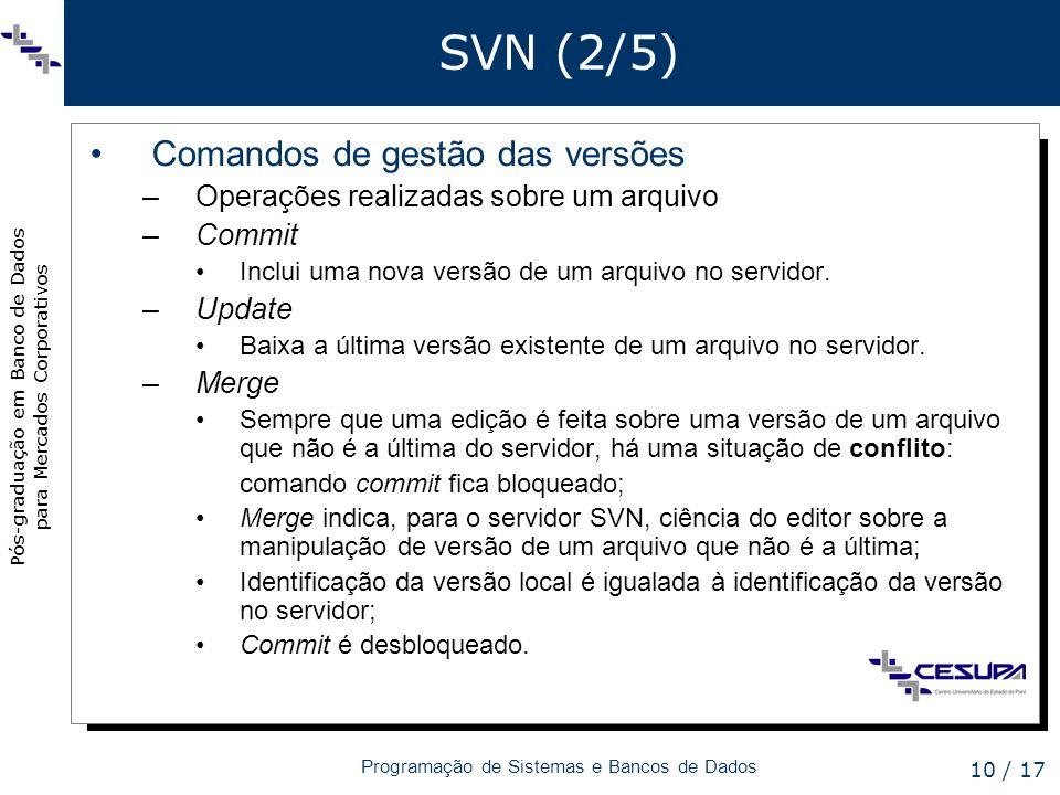 Pós-graduação em Banco de Dados para Mercados Corporativos Programação de Sistemas e Bancos de Dados 10 / 17 SVN (2/5) Comandos de gestão das versões