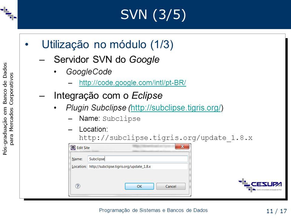 Pós-graduação em Banco de Dados para Mercados Corporativos Programação de Sistemas e Bancos de Dados 11 / 17 SVN (3/5) Utilização no módulo (1/3) –Ser