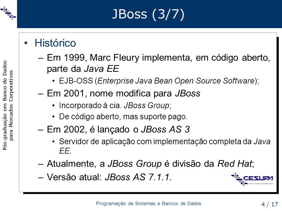 Pós-graduação em Banco de Dados para Mercados Corporativos Programação de Sistemas e Bancos de Dados 5 / 17 JBoss (4/7) Versão utilizada no módulo (1/4) –JBoss AS 6 Contém implementação da API JPA 2 –Já traz bibliotecas do Hibernate.