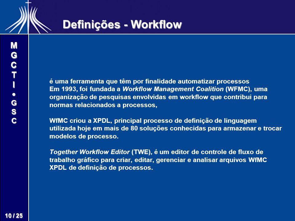 M G C T I G S C 10 / 25 é uma ferramenta que têm por finalidade automatizar processos Em 1993, foi fundada a Workflow Management Coalition (WFMC), uma
