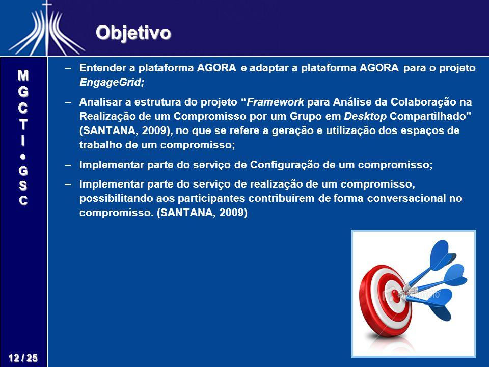 M G C T I G S C 12 / 25 Objetivo – –Entender a plataforma AGORA e adaptar a plataforma AGORA para o projeto EngageGrid; – –Analisar a estrutura do projeto Framework para Análise da Colaboração na Realização de um Compromisso por um Grupo em Desktop Compartilhado (SANTANA, 2009), no que se refere a geração e utilização dos espaços de trabalho de um compromisso; – –Implementar parte do serviço de Configuração de um compromisso; – –Implementar parte do serviço de realização de um compromisso, possibilitando aos participantes contribuírem de forma conversacional no compromisso.