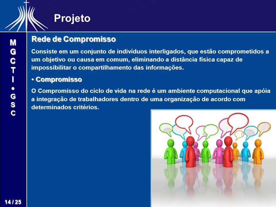 M G C T I G S C 14 / 25 Projeto Rede de Compromisso Consiste em um conjunto de indivíduos interligados, que estão comprometidos a um objetivo ou causa em comum, eliminando a distância física capaz de impossibilitar o compartilhamento das informações.