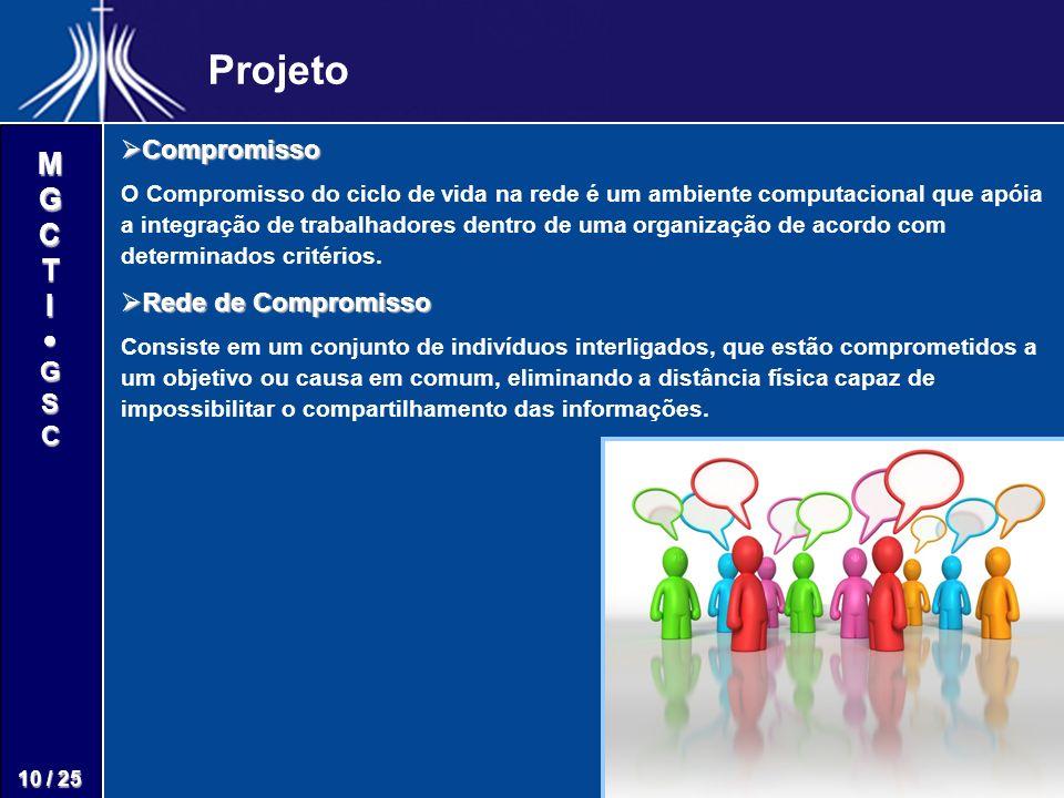 M G C T I G S C 10 / 25 Projeto Compromisso Compromisso O Compromisso do ciclo de vida na rede é um ambiente computacional que apóia a integração de t