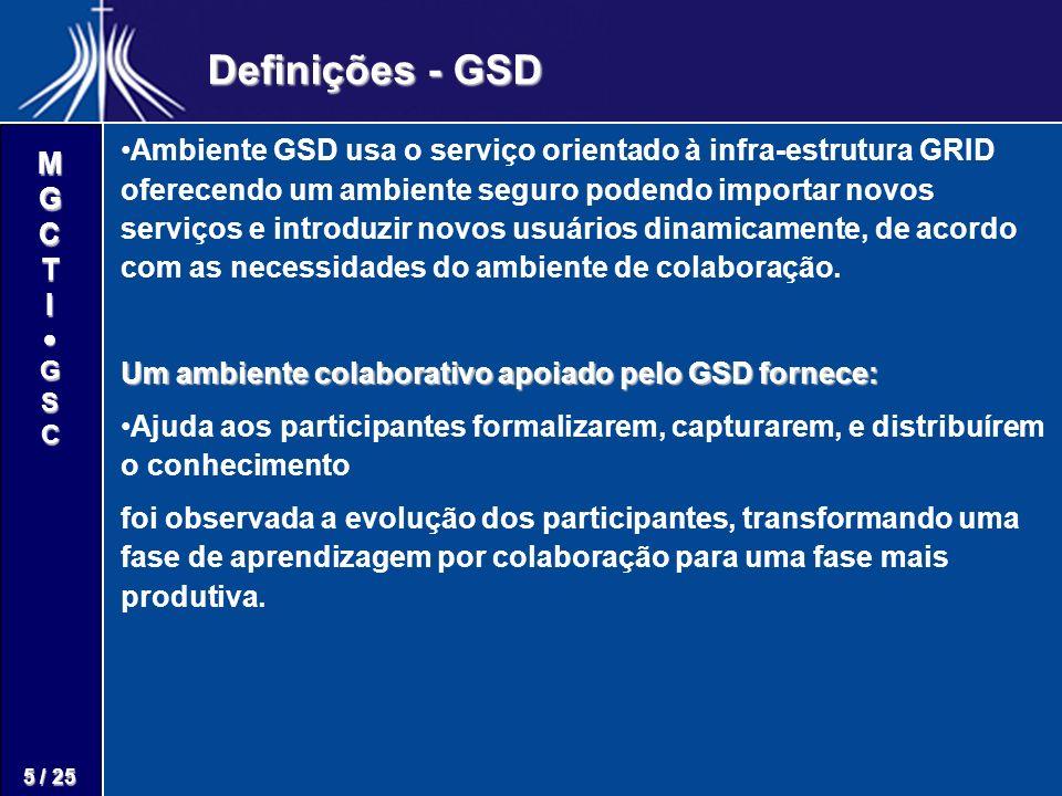 M G C T I G S C 5 / 25 Definições - GSD Ambiente GSD usa o serviço orientado à infra-estrutura GRID oferecendo um ambiente seguro podendo importar nov