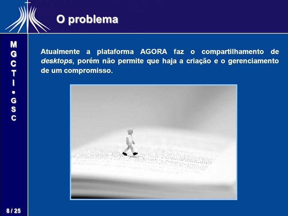 M G C T I G S C 8 / 25 O problema Atualmente a plataforma AGORA faz o compartilhamento de desktops, porém não permite que haja a criação e o gerenciam