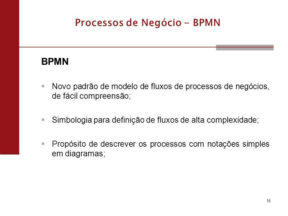 16 Processos de Negócio - BPMN BPMN Novo padrão de modelo de fluxos de processos de negócios, de fácil compreensão; Simbologia para definição de fluxos de alta complexidade; Propósito de descrever os processos com notações simples em diagramas;