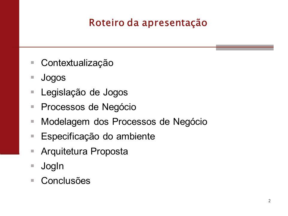 2 Roteiro da apresentação Contextualização Jogos Legislação de Jogos Processos de Negócio Modelagem dos Processos de Negócio Especificação do ambiente Arquitetura Proposta JogIn Conclusões