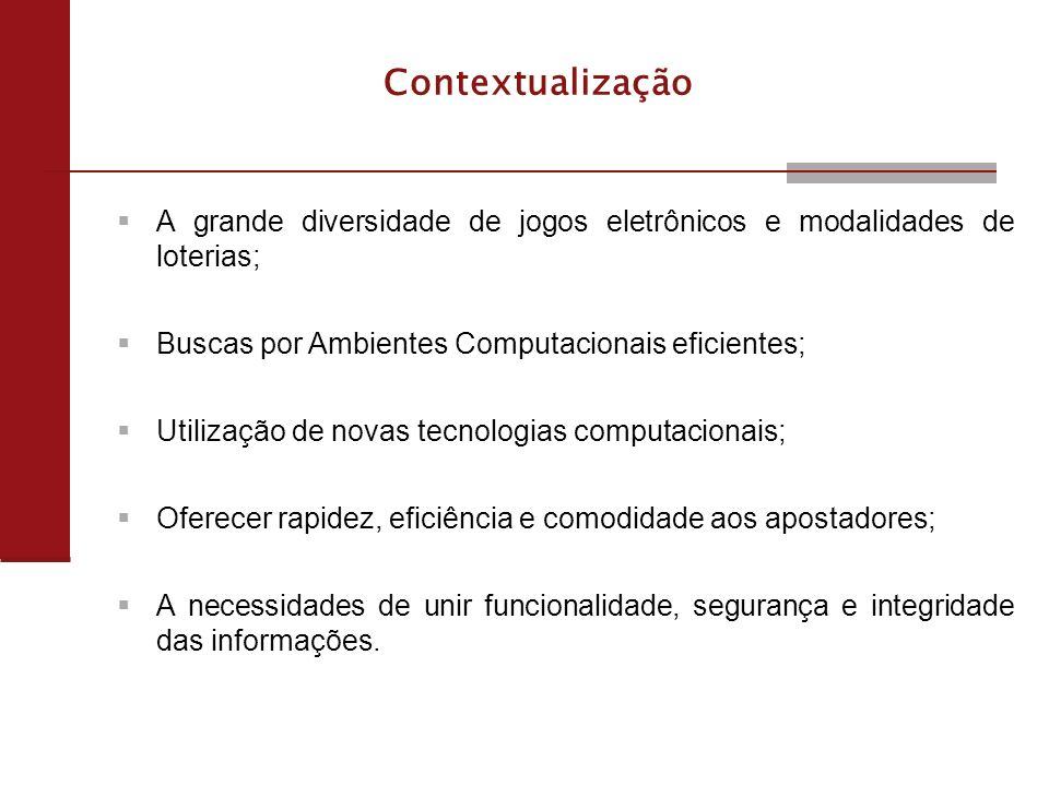 4 Objetivos - Proposta de um ambiente computacional robusto, seguro e auditável, para a gestão e controle dos jogos que utilize dos benefícios da TIC, que proporcione: - Gestão de Jogos MultiModais; - Cadastro dos seus Componentes; - Criação, configuração e ativação dos jogos; - Comercialização e controle de atividades relacionadas.